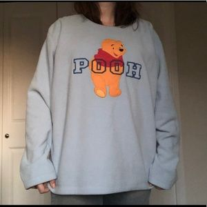 Baby blue Winnie the Pooh fleece pullover over